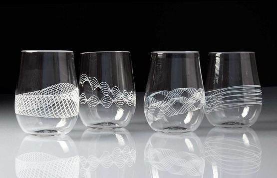 White stemless glasses by Carrie Battista Frost