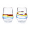 Rainbow stemless glasses by Carrie Battista Frost