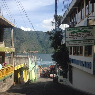 View down to the lake from a street in San Pedro la Laguna.