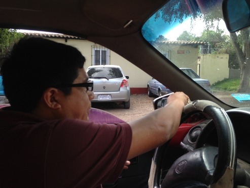 This is a view of Geovani,  a case manager with Constru Casa, and our driver back and forth to/from the job site each day! Thanks so much, Giovanni!