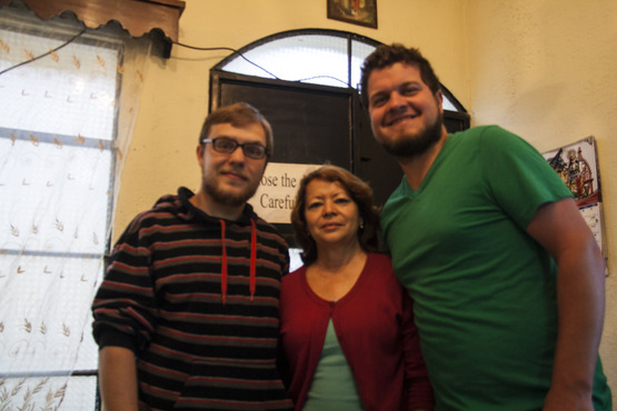 A shot of Anabela, our home-stay mom, Dustan from Kent State's College of Architecture & Environmental Design, and me (Max).