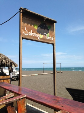 Hotel sign in Monterrico, Guatemala, on the Pacific Ocean.