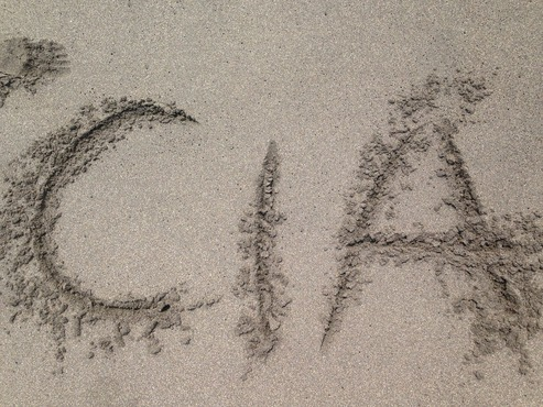 Making our mark on a beach in Central America.