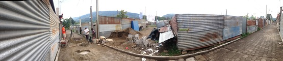 A panoramic overview of where we build every day, in San Miguel Duenas. (Note my camera tripod, near left.)