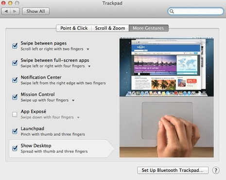 <strong>Go to System Preferences &gt; Trackpad to view all gestures</strong><br />