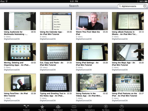 <strong>iPad tutorial videos on DCI YouTube</strong><br />