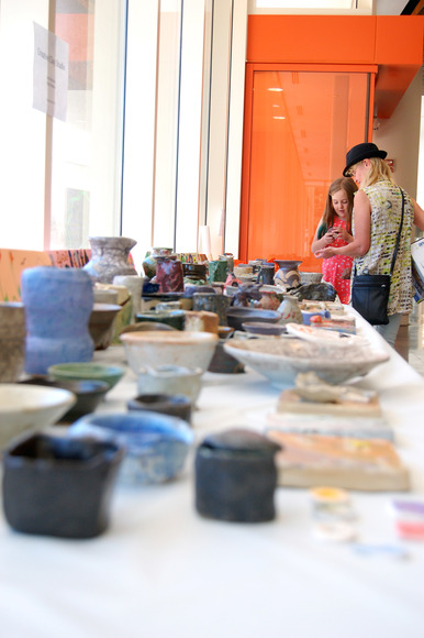 A collection of ceramics created by the young artist Creative Clay Studio class.