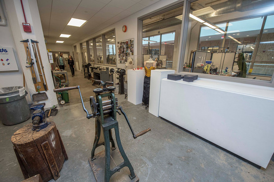 Spacious facilities allow for Jewelry + Metals majors to have their own studio spaces near most work areas.