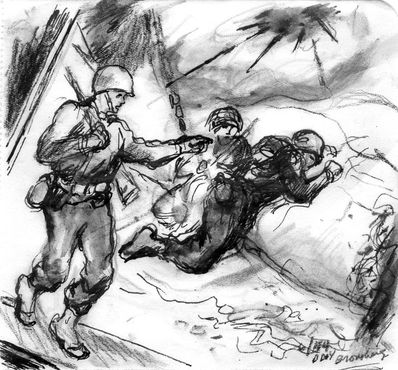 <strong>&quot;Gun Fire, Omaha Beach,&quot; 1944</strong><br />ink and pencil