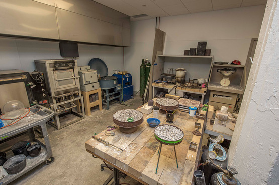 The Jewelry + Metals studio is equipped to handle all fabrication, soldering and casting processes.