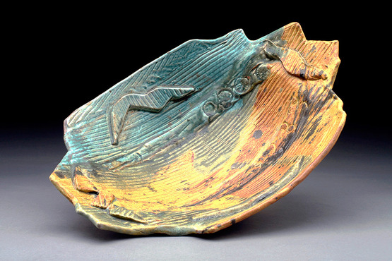<strong>Oval Bowl, Yellow &amp; Green</strong><br />Bette Drake, 2017<br />Reduction fired stoneware
