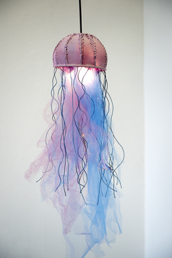 A soft sculpture of a jellyfish created by a Pre-College student.