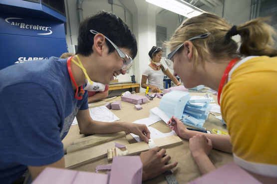 Students use the woodshop in CIA's Fabrication Studio to work on their projects.