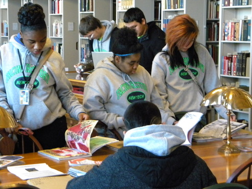 9th grade history students from Cleveland City Schools visit the Cleveland Public Library, to view CIA students' Traveling Sketchbook Exhibition, based upon a common summer reading about poverty and racism in American Indian reservations.