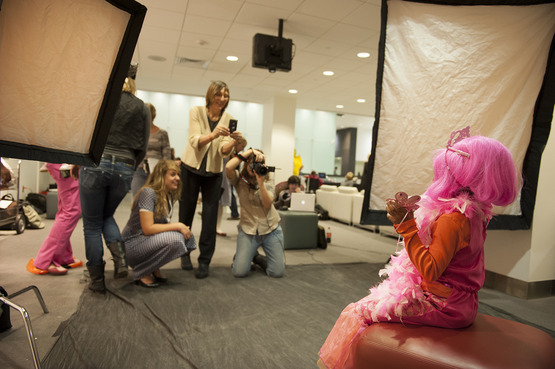 Students shoot portraits of children who are patients at the Cleveland Clinic, though the Flashes of Hope organization.