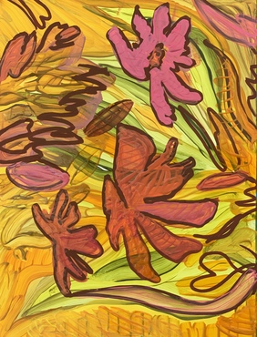 abstract painting evoking autumn leaves