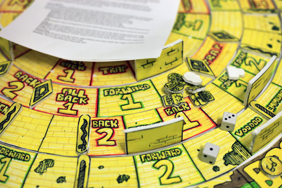A close-up of a board game created by a Pre-College student.