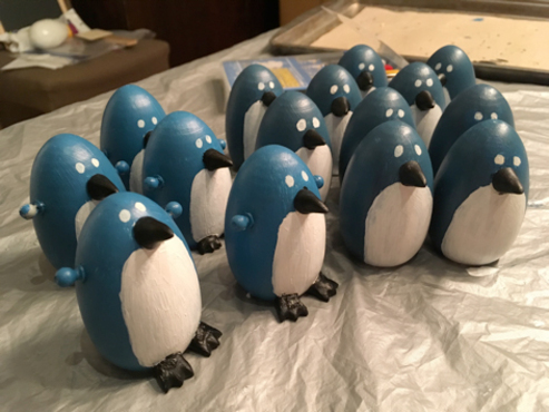 Penguin models used in stop-motion animation
