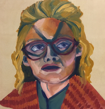 painting of a woman wearing a cat-like mask