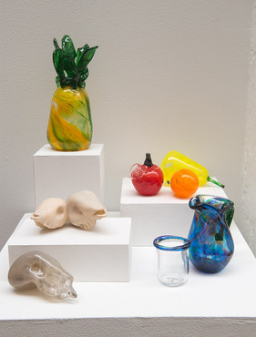 A display of colorful glass pieces during the Pre-College exhibition.