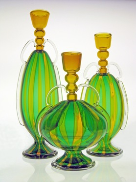 Glass pieces created by Matthew Urban, tited