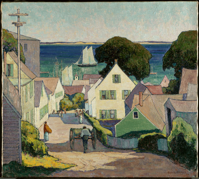 George Gustav Adomeit (American, b. Germany, 1879-1967). Painter, printmaker, entrepreneur, who took Saturday classes at CIA in his teens; long-time head of CIA's photoengraving shop. Down to the Harbor (1925). Oil on canvas, 91.5 x 101.6 cm. The Cleveland Museum of Art, Gift of The Cleveland Art Association 1925.801