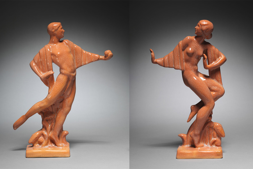 Reginald Guy Cowan (American, 1884-1957). Ceramic artist, designer, entrepreneur, who studied informally at CIA with Walter Sinz; on CIA faculty 1928-1933. Adam and Eve (1928). Designed by Cowan; made by Cowan Pottery (Cowan Pottery). Glazed ceramic, 35 x 26.7 x 8.2 cm. The Cleveland Museum of Art, Educational Purchase Fund 1928.235.1 and 1928.235.2