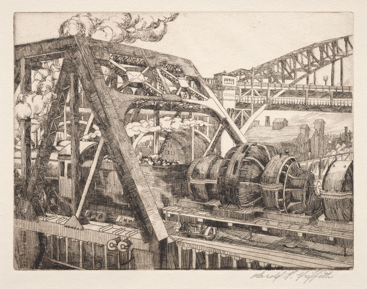 Harold G. Griffith '26 (American, b. 1904). Printmaker, commercial artist. Industrial Cleveland: Baltimore and Ohio Railroad Lift Bridge (1930). Etching. The Cleveland Museum of Art, Gift of The Print Club of Cleveland 1930.158