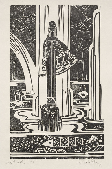 Whitney Atchley '32 (American, 1908-1955). Ceramic artist, enamellist, designer, printmaker. The Pool (1930). Linoleum cut. The Cleveland Museum of Art, Gift of The Print Club of Cleveland 1930.171