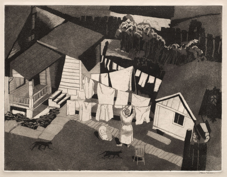 Jean Grigor Ulen '22 (American, 1900-1988). Painter, printmaker; taught art at West Technical High School for 25 years. Wash Day (1932). Etching and aquatint. The Cleveland Museum of Art, Gift of The Print Club of Cleveland 1932.143