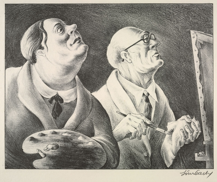 Russell Theodore Limbach (American, 1904-1971). Printmaker, who studied at CIA 1922-1926. Student and Master (c. 1934). Lithograph. The Cleveland Museum of Art, Gift of The Print Club of Cleveland 1934.316