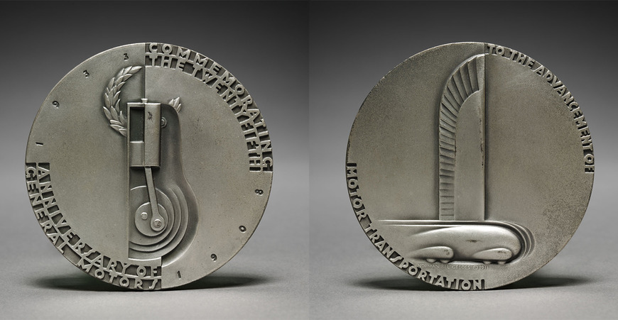 Norman Bel Geddes (American, 1893-1958). Theatre and industrial designer, writer, commercial artist, who studied at CIA for a few months, c. 1911-1912. Medal: Commemorating the Twenty-fifth Anniversary of General Motors (1933). Designed by Bel Geddes; made by Medallic Art Company (American). Bronze with silver patina, w: 7.7 cm. The Cleveland Museum of Art, Gift of General Motors Corporation 1934.208