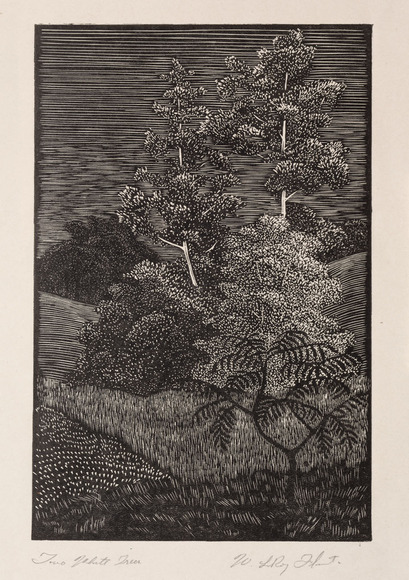 Leroy Walter Flint '36 (American, 1909-1991). Printmaker, muralist. Two White Trees (1933). Process cut. The Cleveland Museum of Art, Gift of The Print Club of Cleveland 1935.133