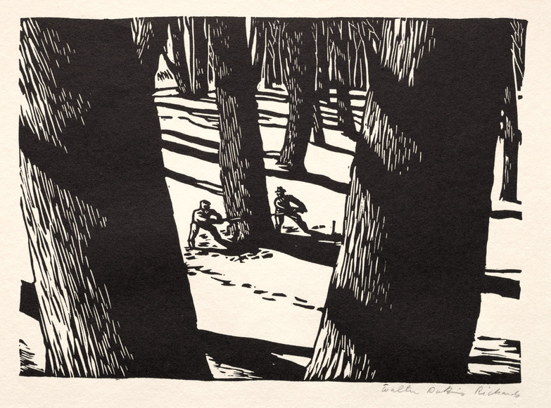 Walter Dubois Richards '30 (American, 1907-2006). Printmaker, illustrator, commercial artist. Woodcutters (c. 1936). Linoleum cut. The Cleveland Museum of Art, Gift of The Print Club of Cleveland 1936.397