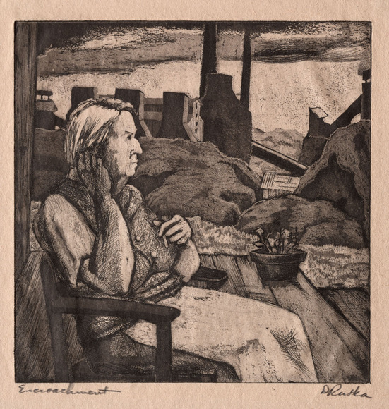 Dorothy Anne Rutka (Porter) '29 (American, 1907-1985). Painter, writer, printmaker. Encroachment (c. 1940). Etching and aquatint. The Cleveland Museum of Art, Gift of The Print Club of Cleveland 1940.66