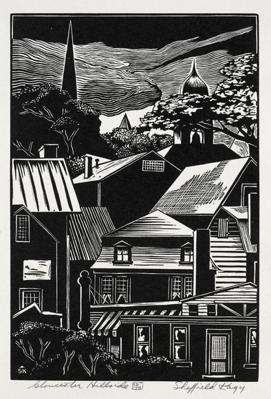 Sheffield Harold Kagy (American, 1907-1989). Printmaker, muralist, professor, designer, who studied at CIA with Henry Keller and Paul Travis, c. 1930. Gloucester Hillside (1941). Linoleum cut. The Cleveland Museum of Art, Gift of The Print Club of Cleveland 1941.118