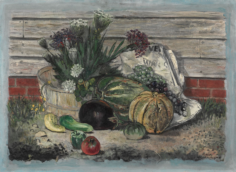 Robert Wray Manning (American, 1887-1978). Painter, printmaker, illustrator; on CIA faculty 1944-1949. August Still Life (1941). Oil on board, 62.9 x 88.6 cm. The Cleveland Museum of Art, Gift of Mrs. Benjamin P. Bole 1942.309
