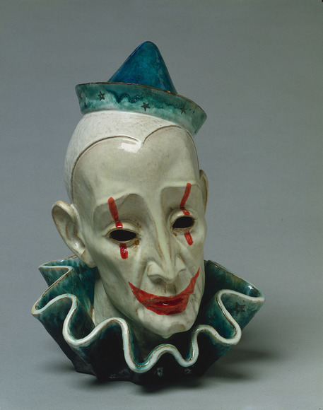 Edris A. Eckhardt '31 (American, 1906-1998). Sculptor, studio glass artist; on CIA faculty 1934-1964. Painted Mask: Pagliacci (1946). Glazed ceramic, 36.2 cm. The Cleveland Museum of Art, The George J. Huth Purchase Prize 1947.72