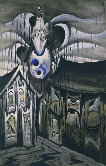 Charles E. Burchfield '16 (American, 1893-1967). Painter, watercolorist. Church Bells Ringing, Rainy Winter Night (1917). Watercolor and gouache over graphite, 77.2 x 50 cm. The Cleveland Museum of Art, Gift of Mrs. Louise M. Dunn in memory of Henry G. Keller 1949.544
