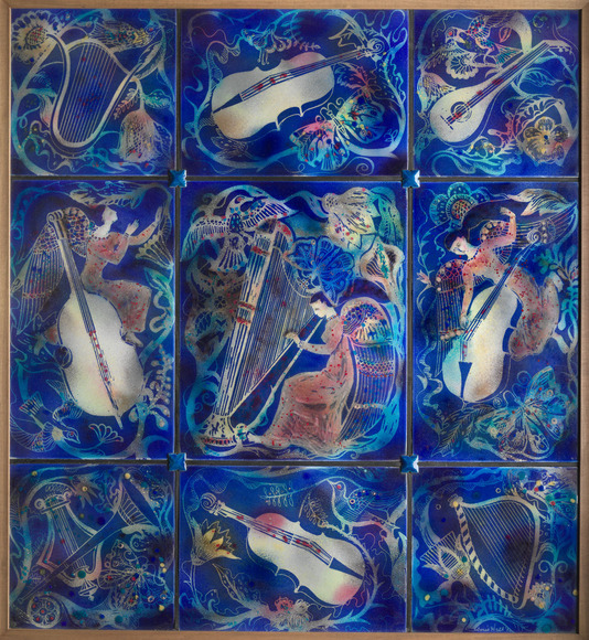 Doris Elizabeth Hall (Kubinyi) '29 (American, 1907-2001). Enamellist, printmaker. Plaque: Andante in Blue (c. 1950). Enamel, 83.2 x 76.8 cm. The Cleveland Museum of Art, Silver Jubilee Treasure Fund 1950.104