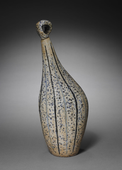 Leza Marie Sullivan McVey '31 (American, 1907-1984). Ceramic sculptor, fiber artist. Bird-Form Bottle (1959). Glazed ceramic, 36.2 x 15.24 cm (overall). The Cleveland Museum of Art, The Harold T. Clark Educational Extension Fund 1959.141