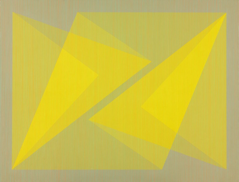 Julian Stanczak '54 (American, 1928-  ). Painter; on CIA faculty 1964-1995. Filtered Yellow (1968). Acrylic on canvas, 182.8 x 243.8 cm. The Cleveland Museum of Art, Contemporary Collection of The Cleveland Museum of Art 1969.15