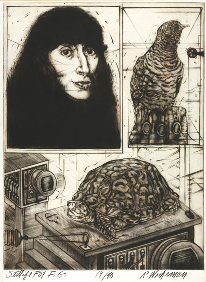 Ralph W. Woehrman '66 (American, 1940-  ). Printmaker, painter; on CIA faculty 1967-2004. Still Life for F.G. (1971). Etching, roulette and engraving. The Cleveland Museum of Art, Gift of The University Print Club in memory of Frances Hurley 1976.166