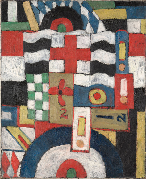 Marsden Hartley (American, 1877-1943). Painter, writer, who in the fall of 1898 studied drawing at CIA with Nina V. Waldeck �??88 (1868-1943). His years of subsequent study in New York were personally financed by CIA trustee Anne Walworth. Military (1914-15). Oil on canvas, 60.6 x 50.2 cm. The Cleveland Museum of Art, Gift of Professor Nelson Goodman 1981.83