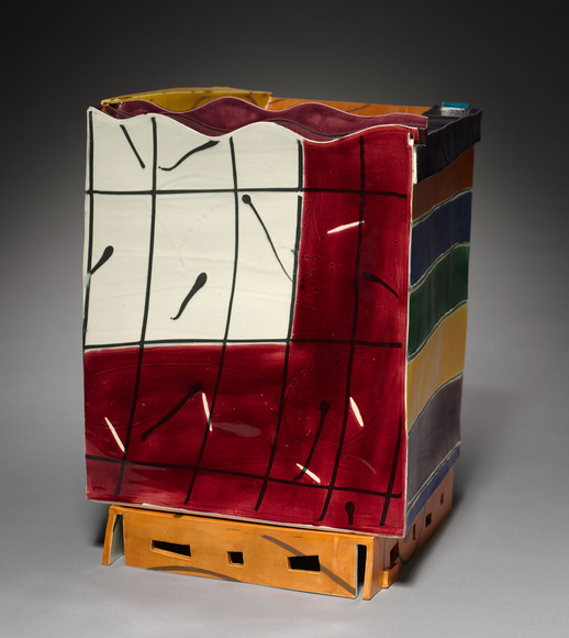 Judith H. Salomon (American, 1952-  ). Ceramic artist; on CIA faculty 1976-present (2013). Box (1982). Glazed ceramic, 41.6 x 34.5 x 30.5 cm (overall). The Cleveland Museum of Art, Gift of the Sarah Stern Michael Fund in memory of Oscar Michael, Jr. 1983.181