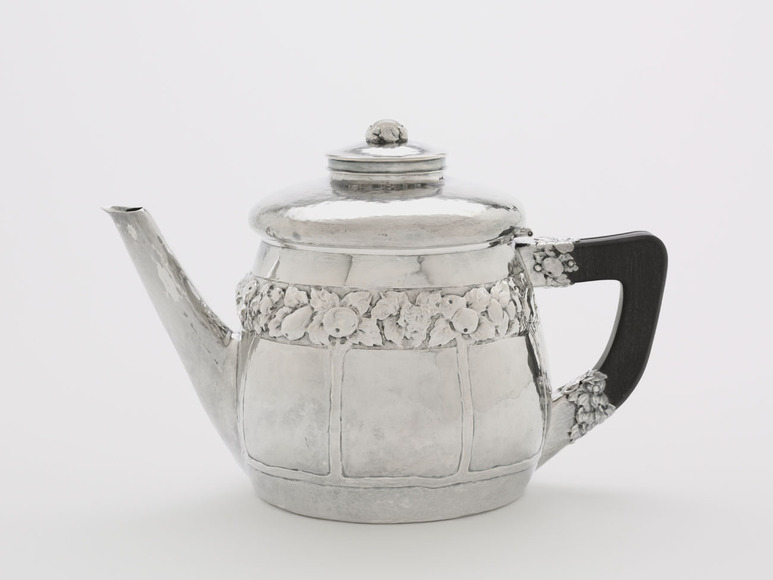 Louis Rorimer (American 1872-1939). Designer, decorator, entrepreneur, who took Saturday classes at CIA in his teens; on CIA faculty 1898-1918. Teapot (c. 1910). Designed by Rorimer; made by Rokesley Shop (American), the workshop of Rorimer, Mary Blakeslee '02 (American, c. 1879-1964) & *Ruth Smedley '02 (American, 1881-1920). Silver, moonstone, ebony, 17.8 x 26.7 x 14.5 cm. The Cleveland Museum of Art, Gift in memory of Louis Rorimer from his daughter, Louise Rorimer Dushkin and his granddaughter, Edie Soeiro 1991.314.2