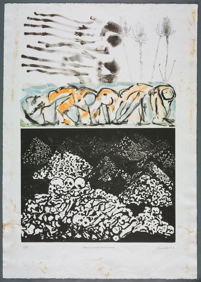 Curlee Raven Holton '88 (American, 1951-  ). Printmaker, writer, professor at Lafayette College. Planting Bones, Pulling Weeds (1990). Etching and monotype. The Cleveland Museum of Art, Wishing Well Fund 1991.53