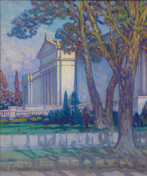 Frederick Carl Gottwald (American, b. Austria, 1858-1941). Painter; on CIA faculty 1885-1926. View of the Cleveland Museum of Art (1916). Oil on canvas, 61 x 50.8 cm. The Cleveland Museum of Art, Bequest of Virginia Hubbell 1997.310