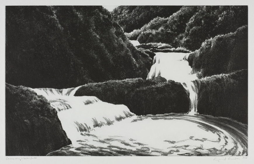 April Gornik '76 (American, 1953-  ). Painter, printmaker. Cascading Waterfall (1988). Softground etching and spitbite aquatint, 56.4 x 75.7 cm. The Cleveland Museum of Art, Gift of The Print Club of Cleveland 1999.141