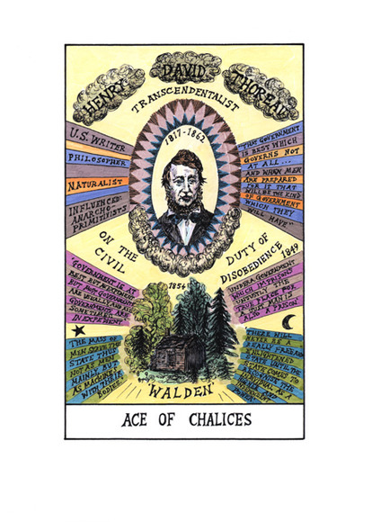 <strong>Ace of Chalices- Henry Thoreau</strong><br />Suzanne  Treister, 2009-11<br />archival giclee print with watercolor on Hahnemuhle Bamboo paper, courtesy of the artist and P.P.O.W. Gallery New York, New York.